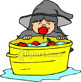 346x350 Girl Dressed As Witch Bobbing For Apples