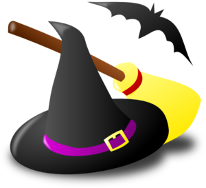 300x273 Witch Hat Broom Bat Clip Art