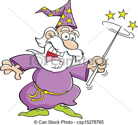 450x408 Cartoon Wizard. Cartoon Illustration Of A Wizard With A Clip