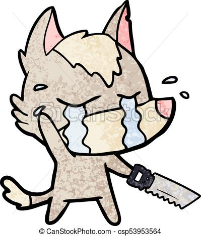 399x470 Cartoon Crying Wolf With Saw Clip Art Vector