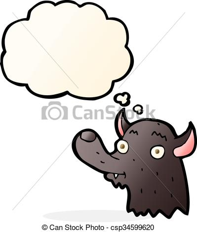 399x470 Cartoon Happy Wolf With Thought Bubble Vector Illustration