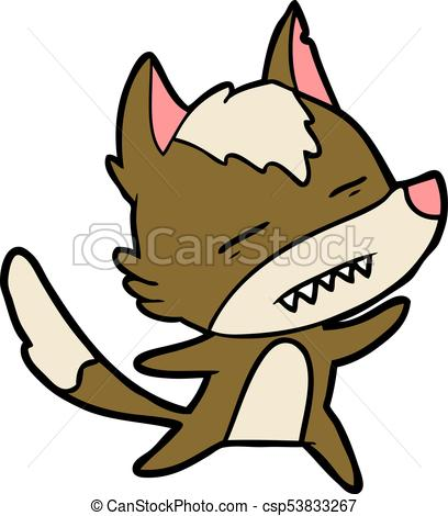 408x470 Cartoon Wolf Showing Teeth Whilst Dancing Clip Art Vector