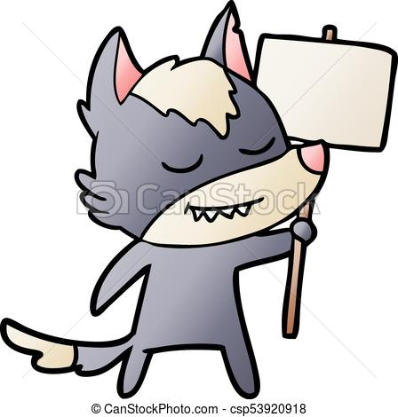 448x470 Friendly Cartoon Wolf With Blank Sign Vector Clip Art