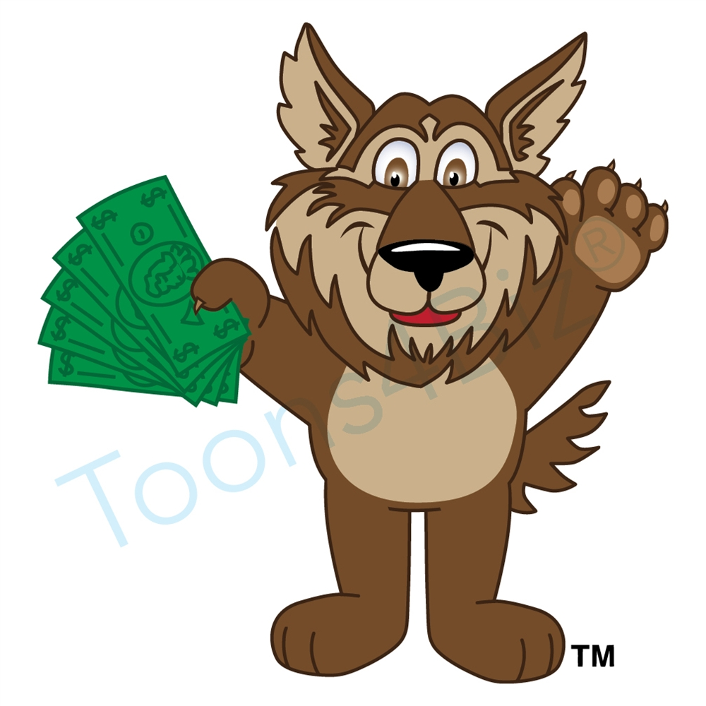 1000x1000 Wolf Mascot Holding Money Clip Art