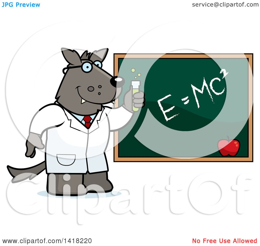 1080x1024 Cartoon Clipart Of A Professor Or Scientist Wolf By A Chalkboard
