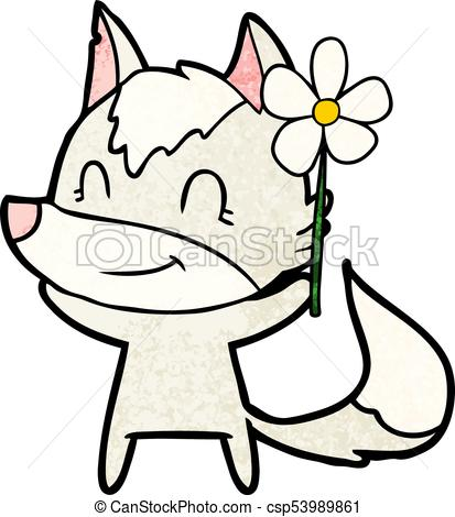 413x470 Friendly Cartoon Wolf With Flower Clip Art Vector