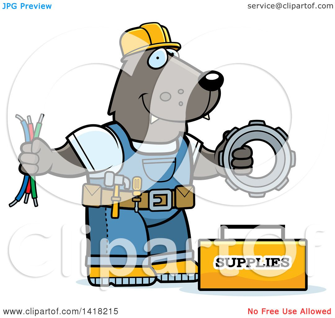 1080x1024 Cartoon Clipart Of A Wolf Construction Worker With Tools