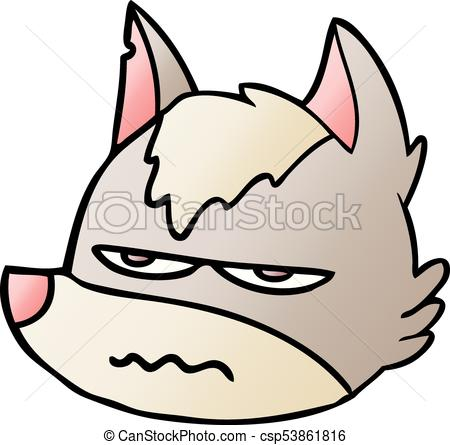 450x445 Cartoon Annoyed Wolf Face Vector Clip Art