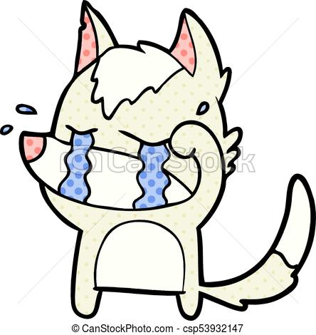 444x470 Cartoon Crying Wolf Rubbing Eyes Eps Vector