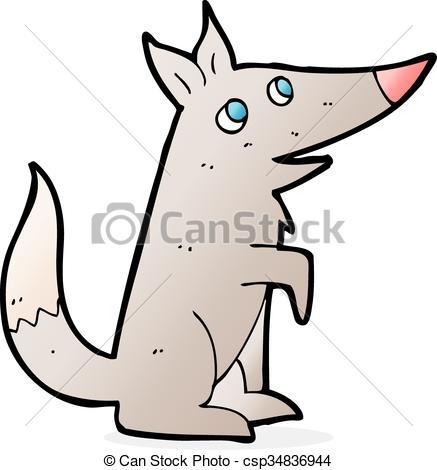 437x470 Cartoon wolf cub eps vector