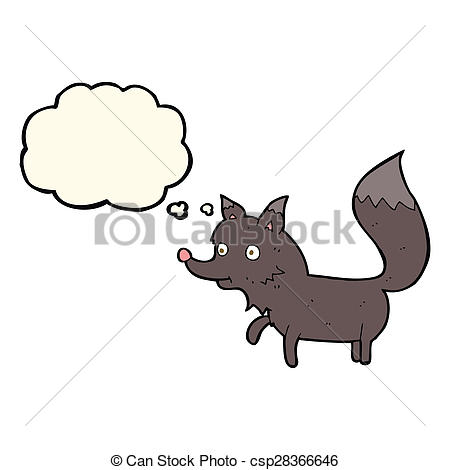 450x470 Cartoon Wolf Cub With Thought Bubble Drawing
