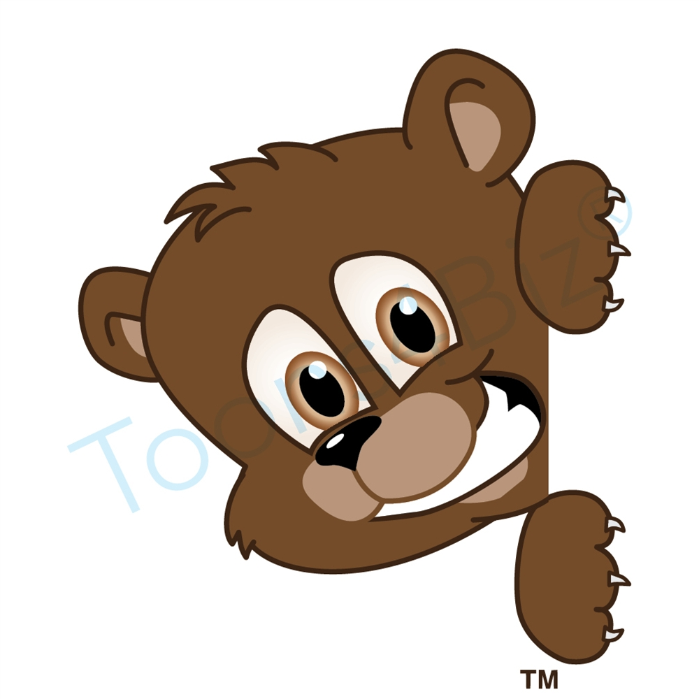 1000x1000 Bear Mascot Peeking To Side Clip Art