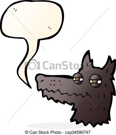 403x470 Cartoon Smug Wolf Face With Speech Bubble Eps Vector
