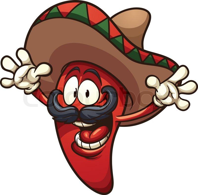 800x787 Happy Mexican Chili Pepper. Vector Clip Art Illustration