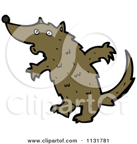 450x470 Cartoon Of A Brown Wolf Dog