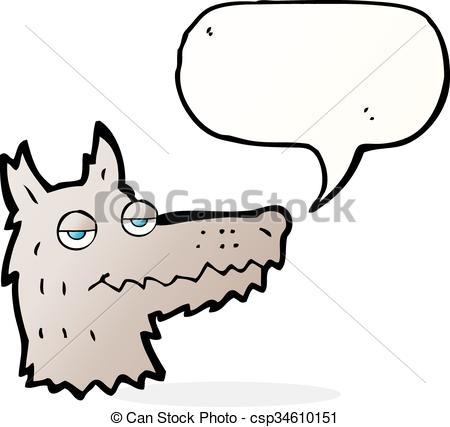 450x427 Cartoon Wolf Head With Speech Bubble Clipart Vector