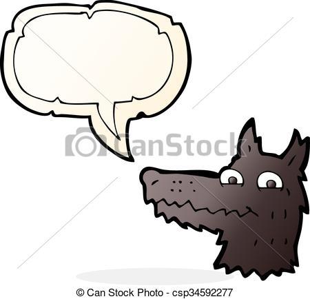 450x434 Cartoon Wolf Head With Speech Bubble Vectors Illustration