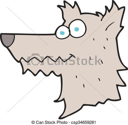 450x440 Freehand Drawn Cartoon Wolf Head Vector