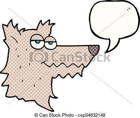 450x381 Freehand Drawn Comic Book Speech Bubble Cartoon Wolf Head Eps