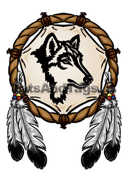 250x350 Wolf Dream Catcher Clipart