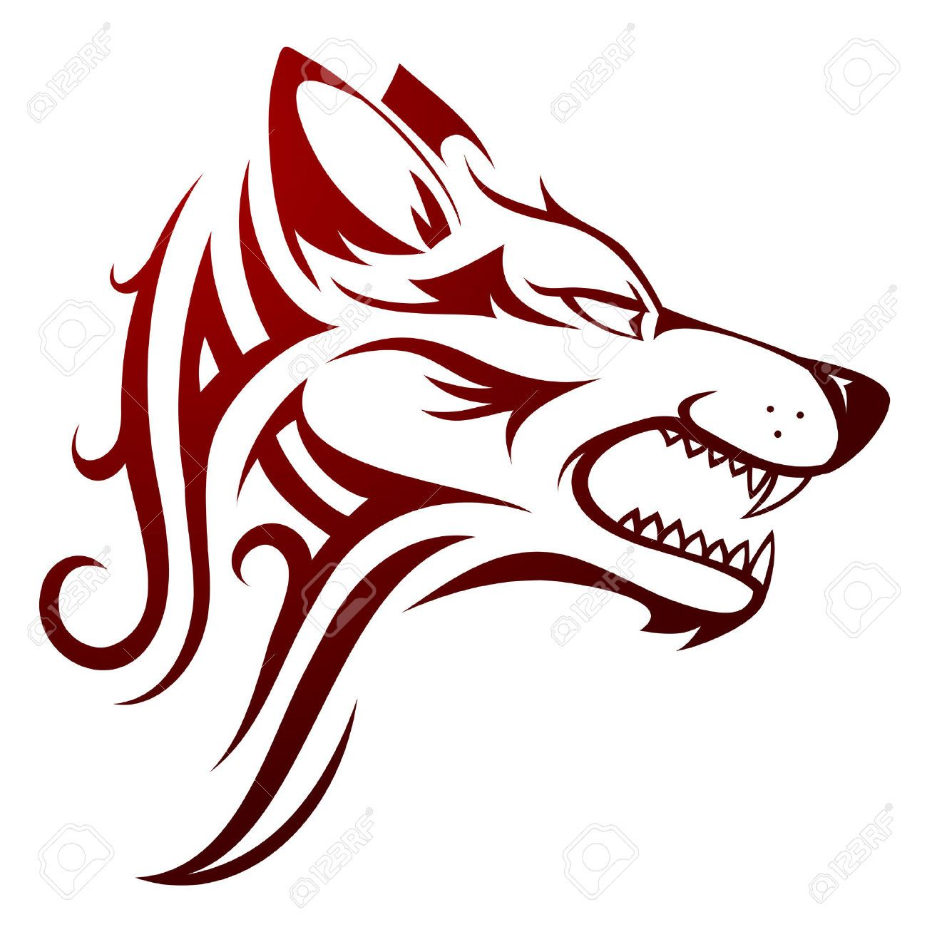 1300x1300 34392619 Vector Illustration With Wolf Head Tattoo Stock Vector