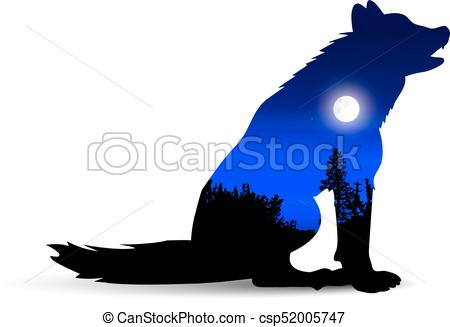 450x327 Silhouette Of Howling Wolf With Wild Landscape And Moonlight