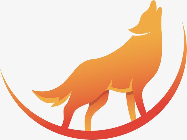 650x488 Gradient Orange Midnight Wolf Howl, Vector Material, Orange