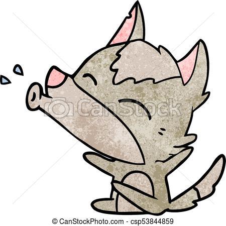 450x450 Howling Wolf Cartoon Clipart Vector