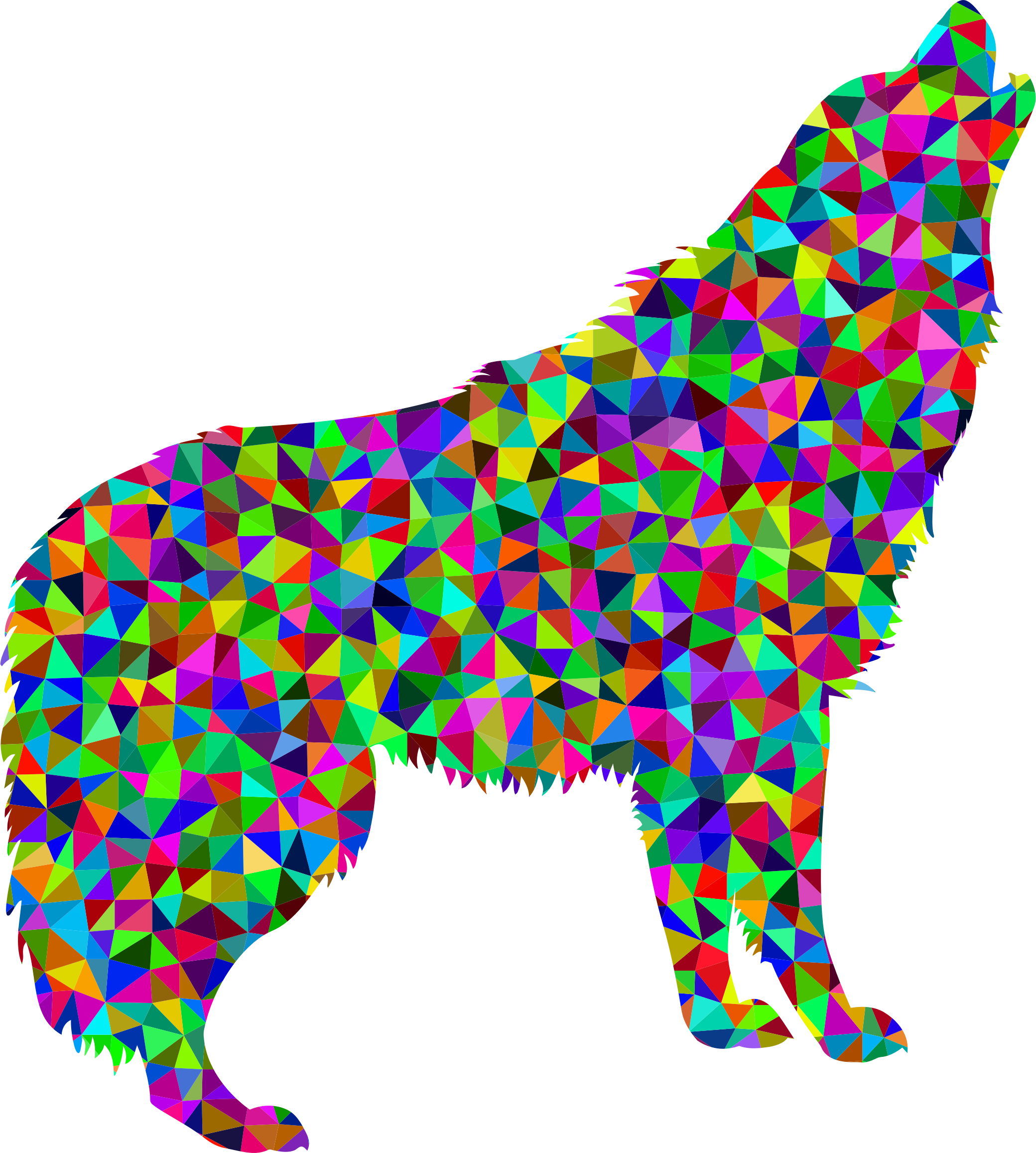 2080x2314 Low Poly Prismatic Howling Wolf Icons Png