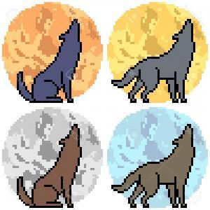 300x300 Photostock Vector Vector Pixel Art Wolf Howl Set Sohadacouri