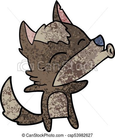393x470 Cartoon Howling Wolf Vector Illustration