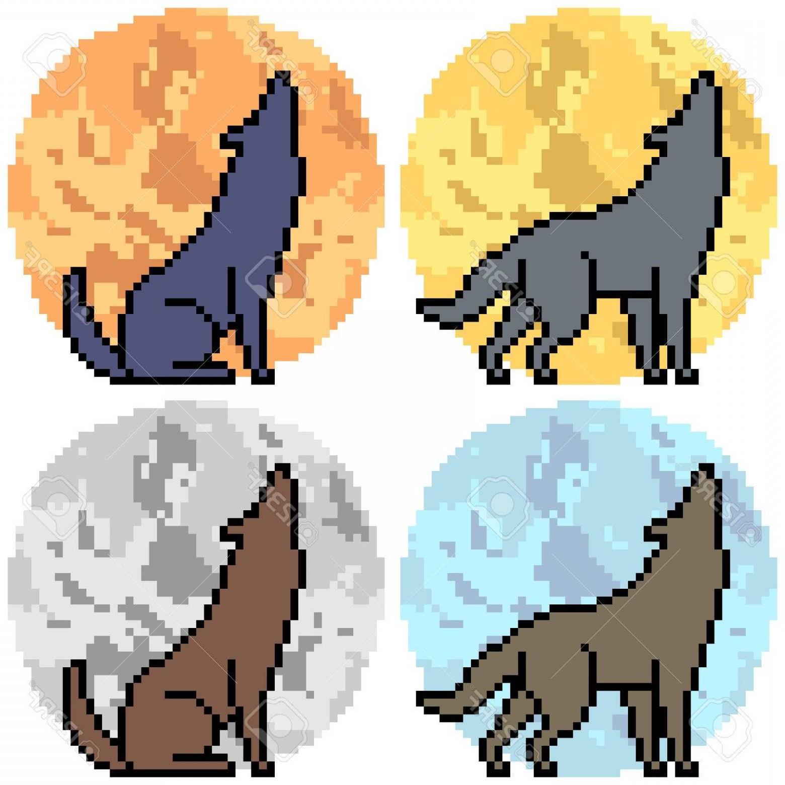 1560x1560 Photostock Vector Vector Pixel Art Wolf Howl Set Sohadacouri