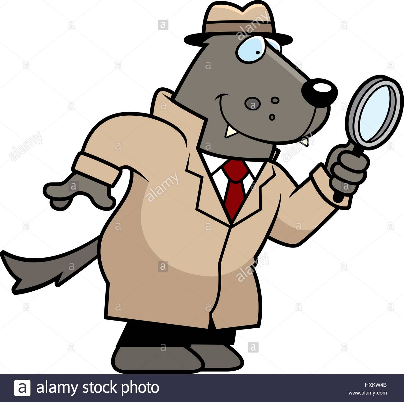 1300x1293 A Cartoon Illustration Of A Wolf Detective Investigating Stock