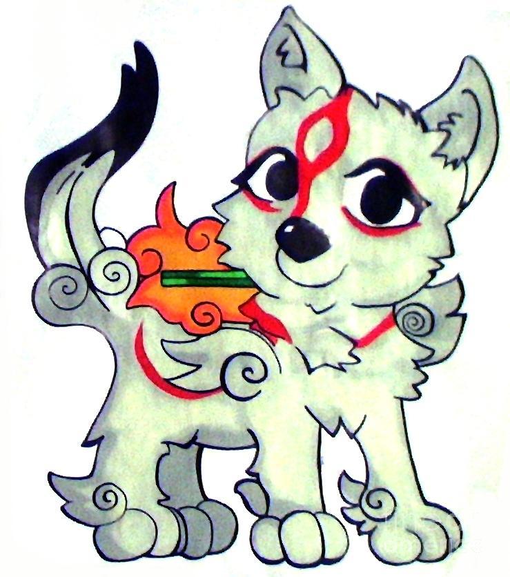739x836 Amaterasu Okami Wolf Pup Painting By Jin Kai
