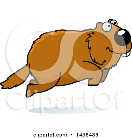 450x470 Clipart Of A Happy Woodchuck Groundhog Whistlepig Jumping