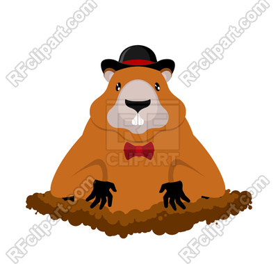 400x380 Groundhog In Hat Royalty Free Vector Clip Art Image