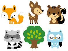 236x177 Set Of 8 Woodland Animals