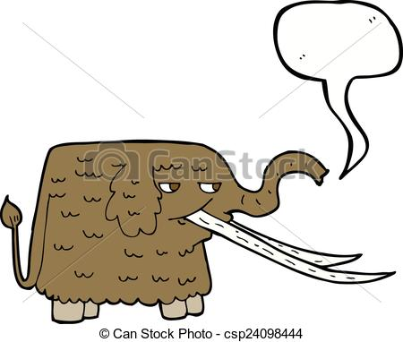 450x382 Cartoon Woolly Mammoth With Speech Bubble Eps Vector