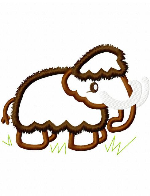 489x640 Wooly Mammoth Embroidery Design