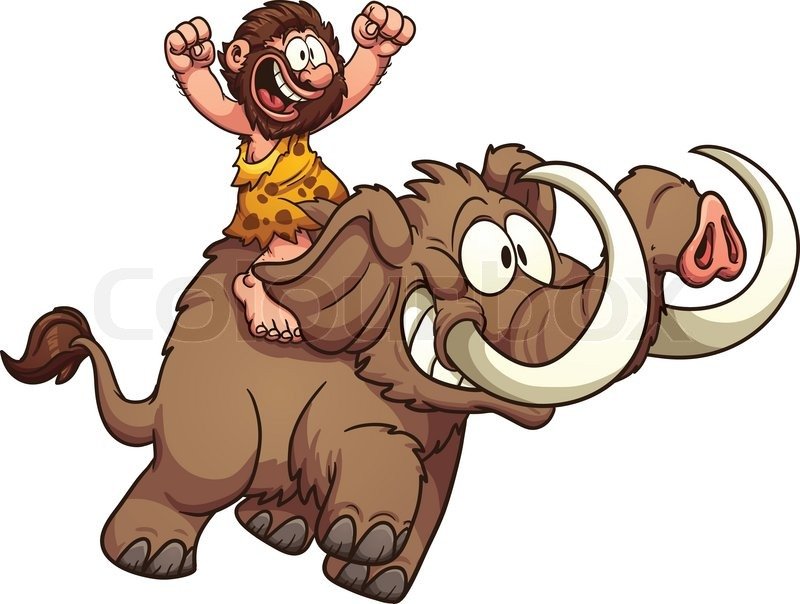 800x604 Caveman Riding A Mammoth. Vector Clip Art Illustration With Simple
