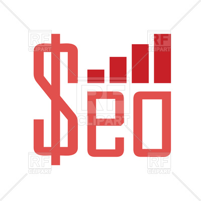 400x400 Word Seo With Money Sign And Growing Chart Royalty Free Vector