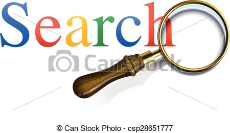 450x260 Search Word With Magnifying Glass, Vector Illustration. Vectors