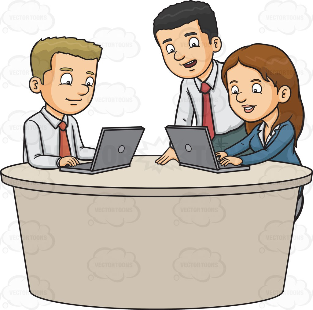 1024x1016 Three Work Colleagues Typing A Report Cartoon Clipart Vector Toons