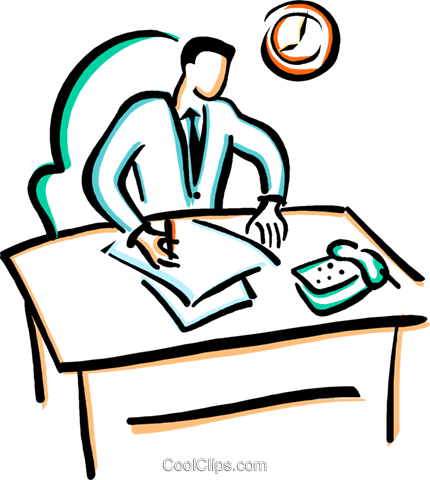 430x480 Office Worker Doing Paper Work Royalty Free Vector Clip Art