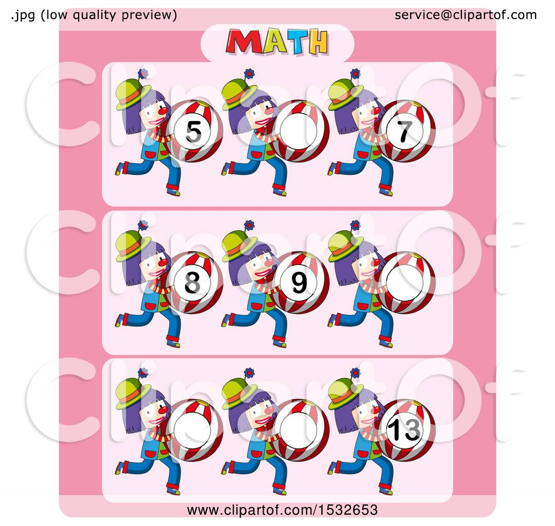 1080x1024 Clipart Of A Math Worksheet With Clowns