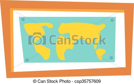 450x283 World Map Countries Picture Frame Travel Geography. World