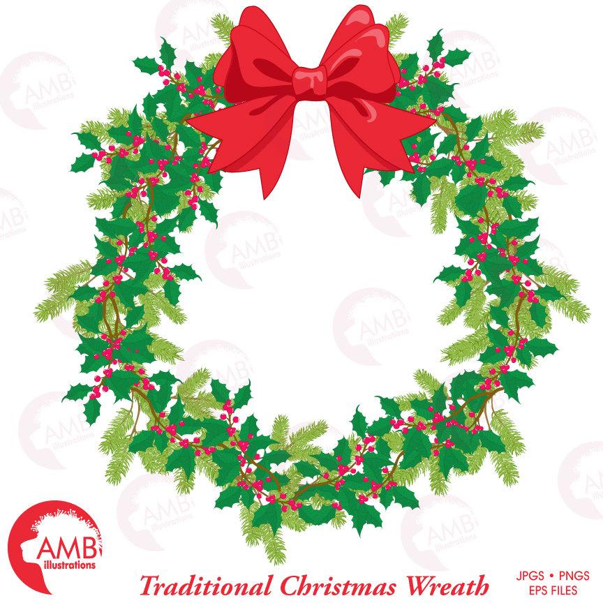 864x864 Christmas Wreath, Christmas Clipart, Holiday Wreath, Amb 1495