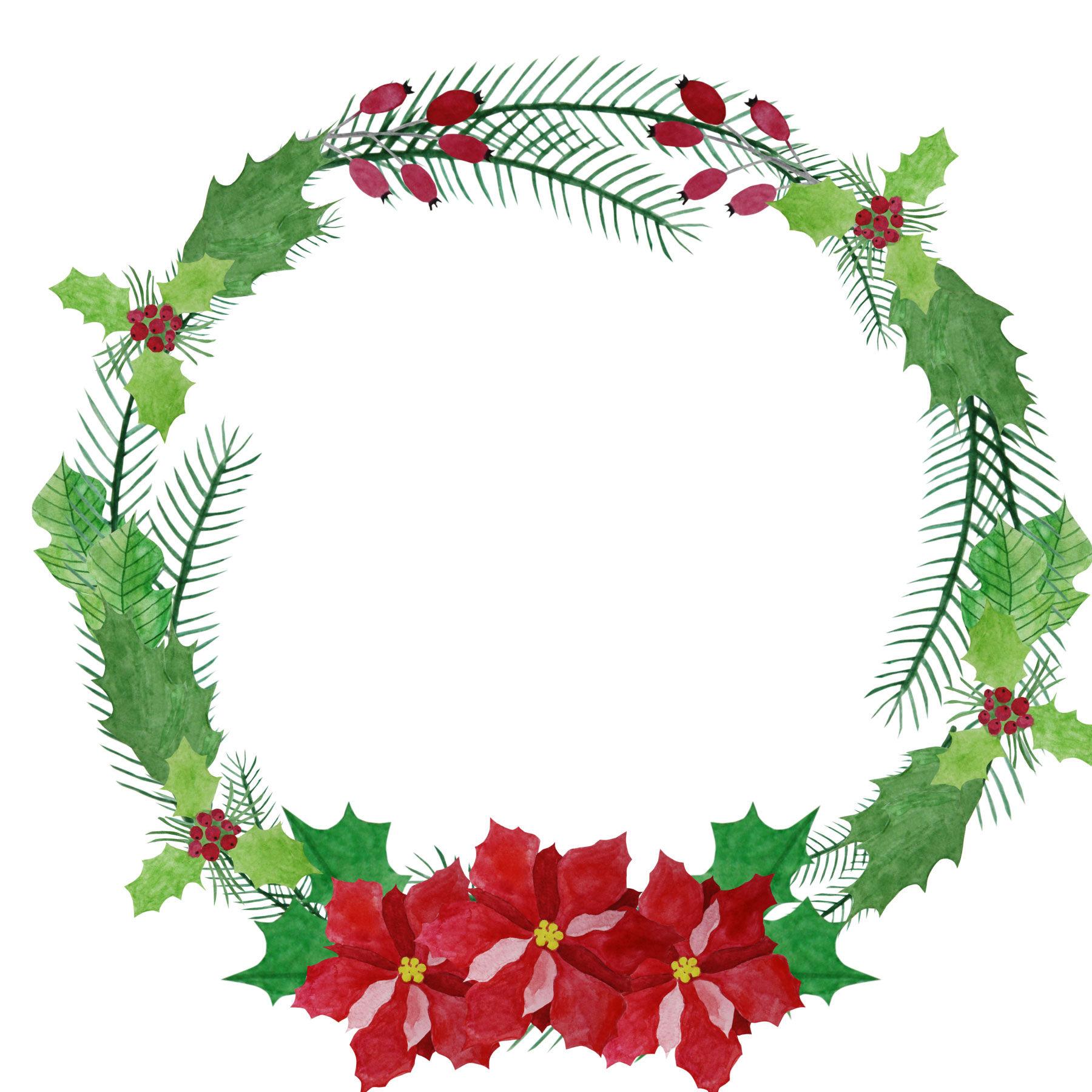 1800x1800 Watercolor Wreath Clipart, Poinsettia Wreath, Christmas Wreath