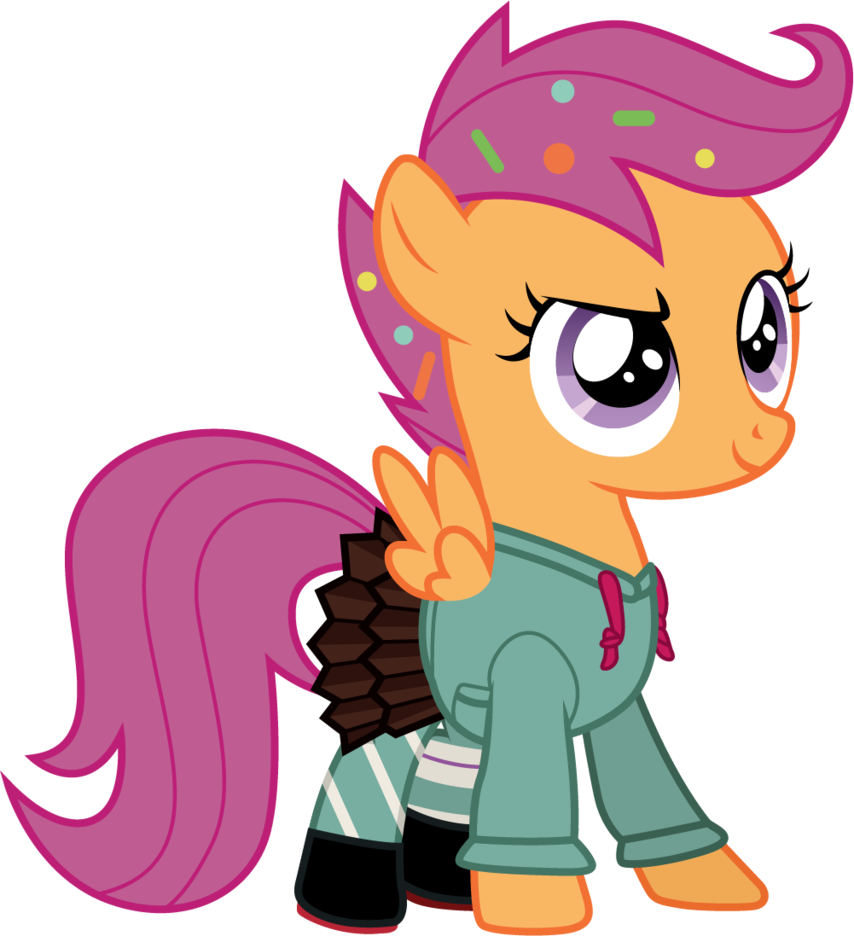 854x936 Scootaloo As Vanellope (Wreck It Ralph) By Cloudyglow