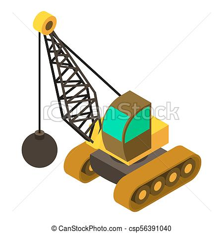 450x470 Wrecking Ball Crane Icon, Isometric 3d Style. Wrecking Ball